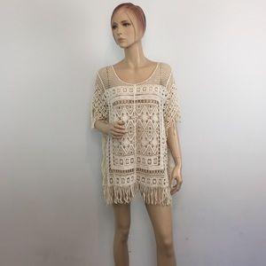 WORLD MARKET Cream Crochet Tunic Coverup Free Size